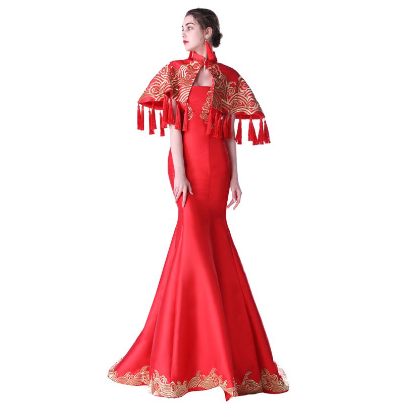 Click to Buy << Vestido Oriental Moderno Red Chinese Traditional ...