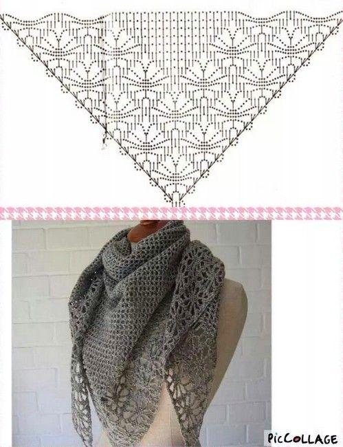 chales crochet (12)   Crochet   Pinterest   Chal, Chal de ganchillo ...