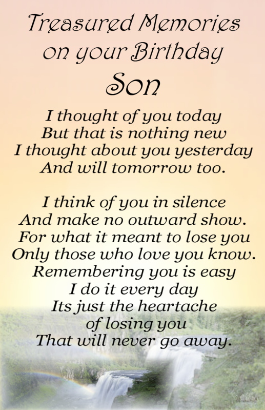 Happy Birthday Memorials For Son Bereavement Grave Card Son