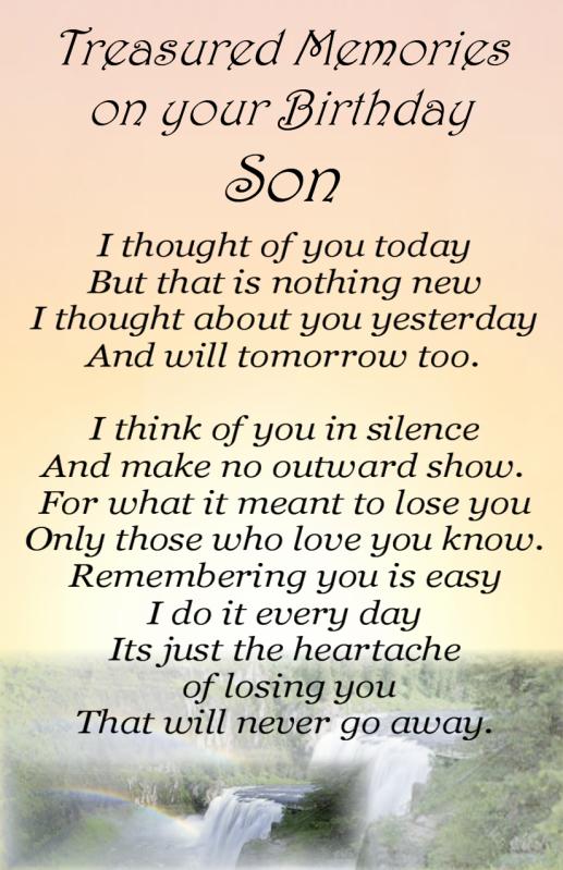Happy Birthday Memorials For Son