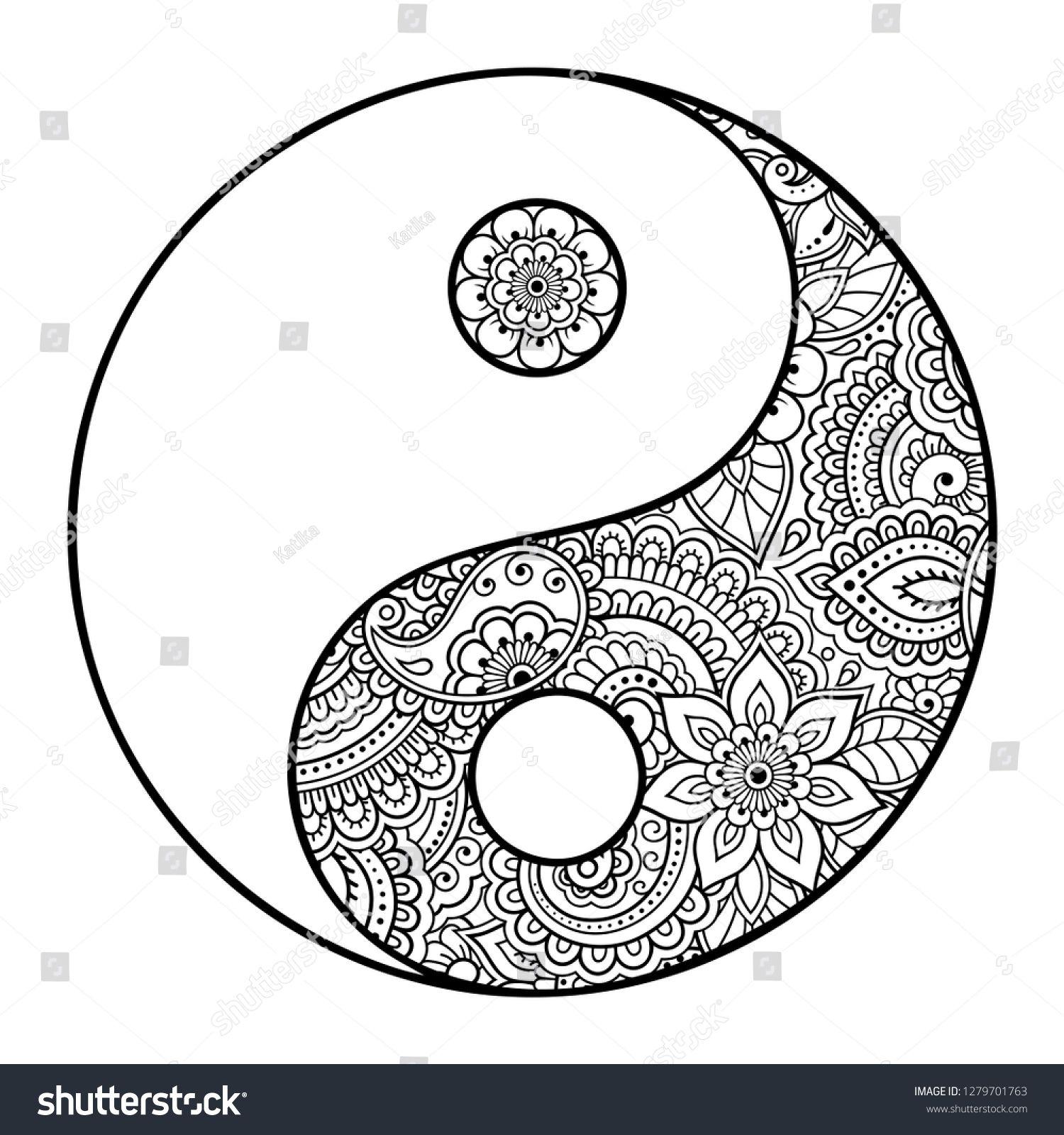 Yin Yang Hand Drawn Symbol Circular Pattern Sign Interaction Of Opposites For Mehndi Henna And Tattoo Decor Mandala Design Art Yin Yang Art Zen Doodle Art