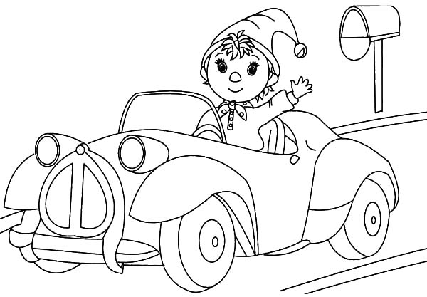Noddy The Taxi Driver Driving Car Coloring Pages Best Place To Color Cars Coloring Pages Coloring Pages Car Cartoon