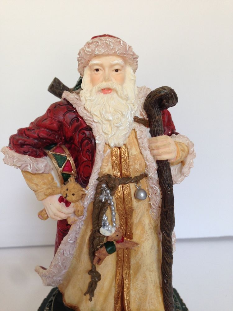 Santa Clause Music Box Figurine Jingle Bells Holiday Cheer Gifts Collectable