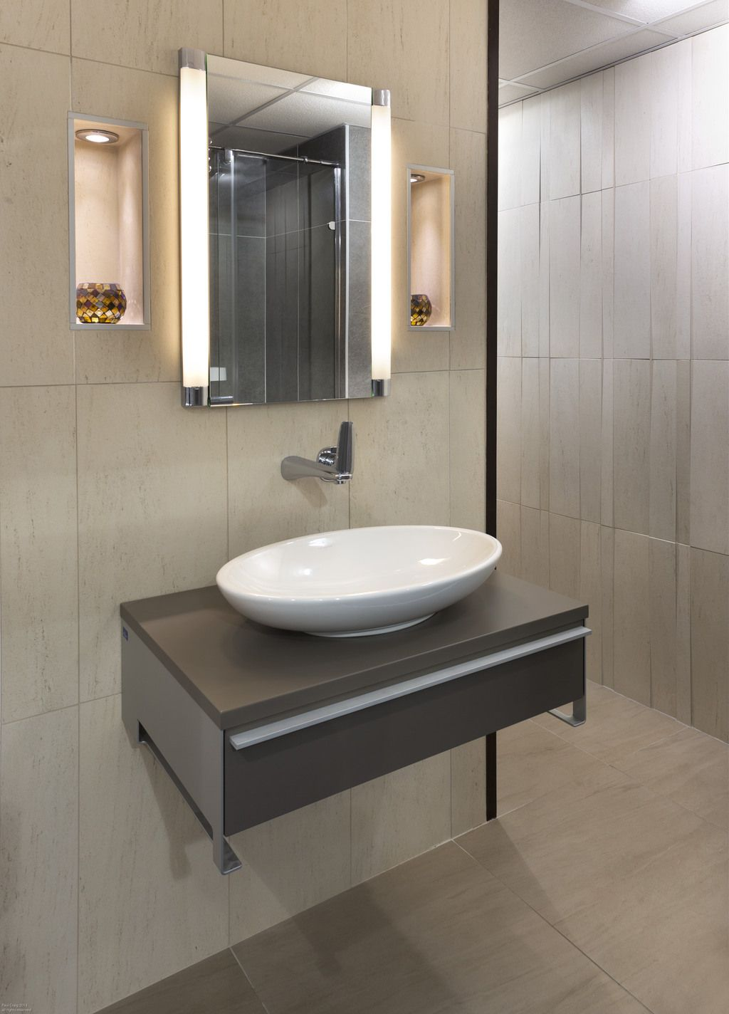 Inspirational Villeroy u Boch display featuring a vanity unit from the Shape range together with an oval