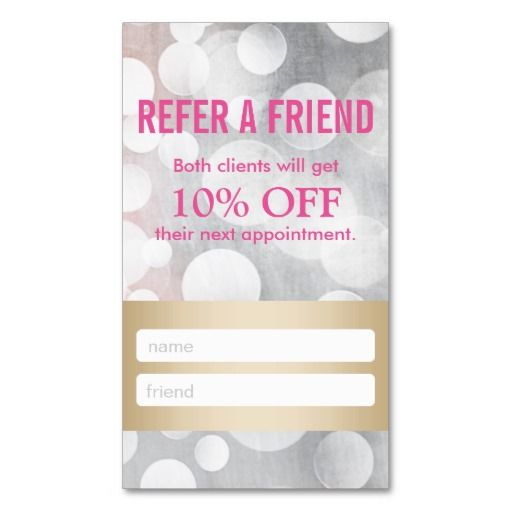 Referral Card Silver \ Gold Eyelash Extensions Double-Sided - business referral agreement