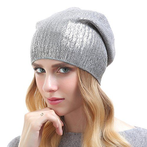 021e5f314a9e0 Beanie Hats For Women Knit Cashmere Hat Caps Winter Fashion Bling Beanies  Grey With Silver   You can get more details by clicking on the image.