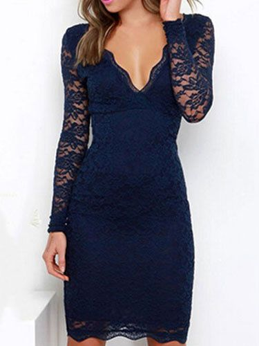 805d2f19fe4 Lace Dress Long Sleeve V Neck Slim Fit Sexy Dress Low Back Bodycon ...