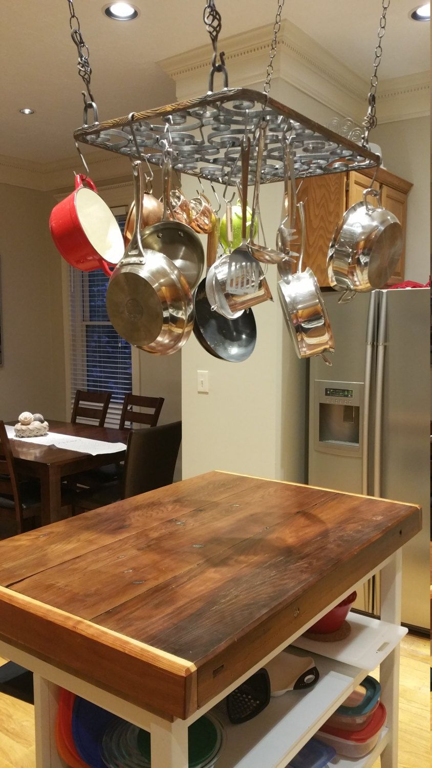 Rustic Pot  Pan Rack in 2019  Kitchens  Kitchen island