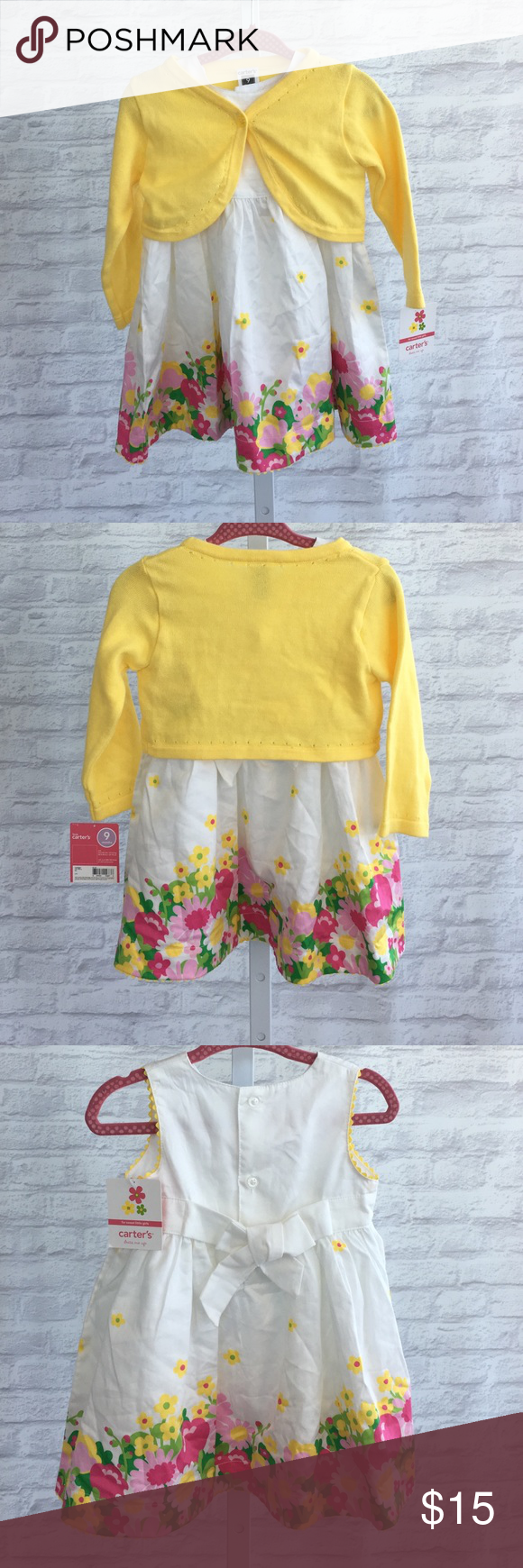 Floral dress with yellow sweater set NWT | Yellow, Yellow sweater ...