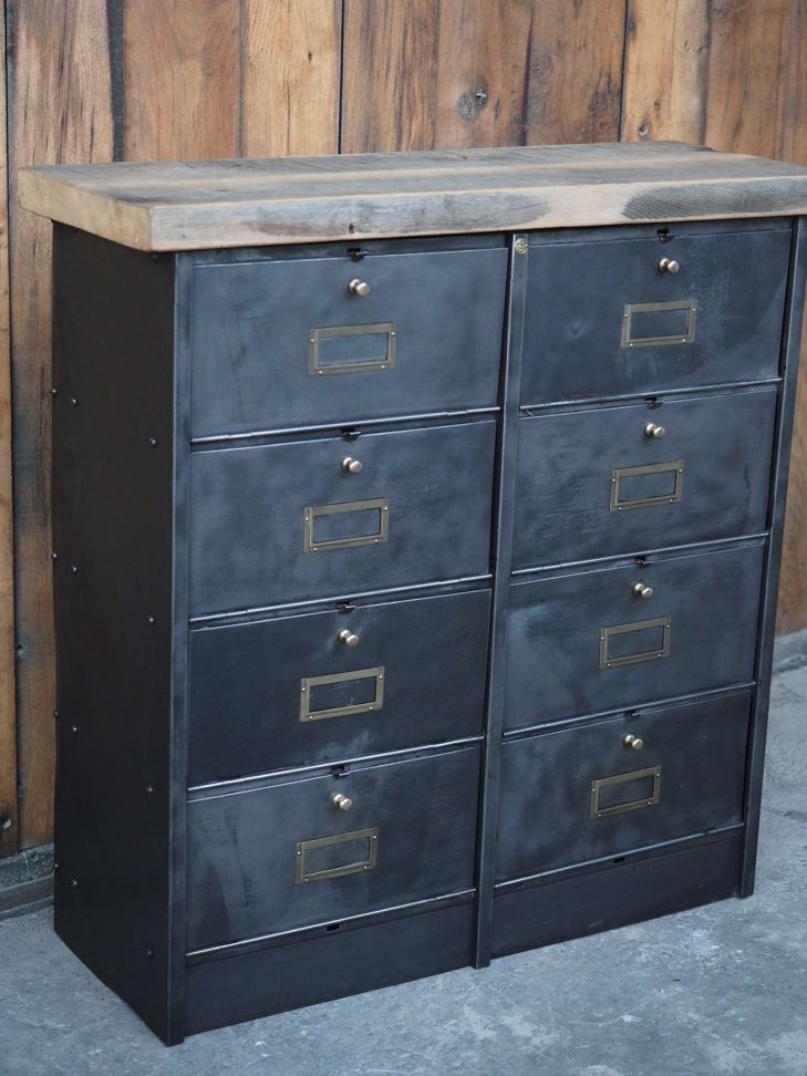 meuble console 8 casiers industriel clapet Roneo plateau chene