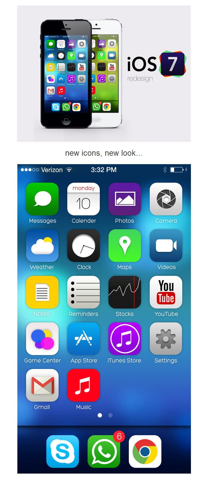 ios7 redesign . new icons, new look. ios7 design icons