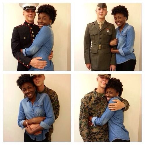 Couple Interracial Military Picture