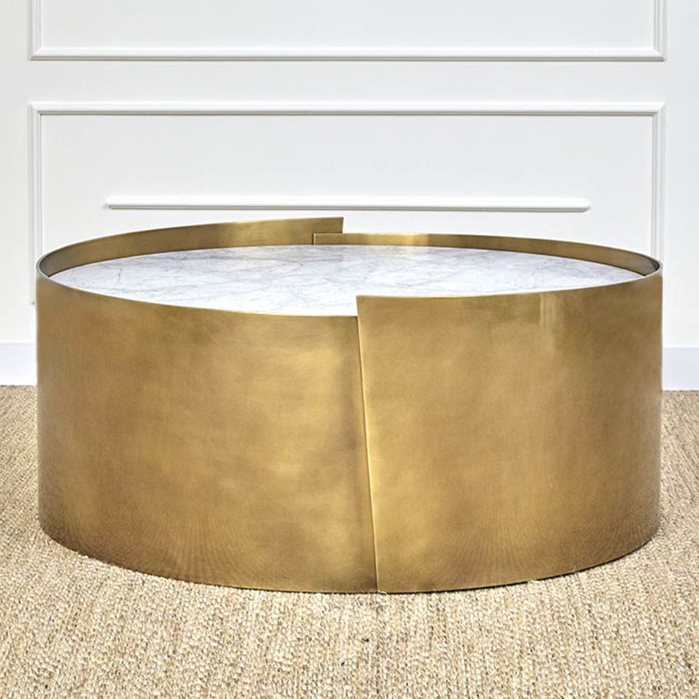 Santiago Modern Burnished Brass Drum Coffee Table: Alta Coffee Table In 2019