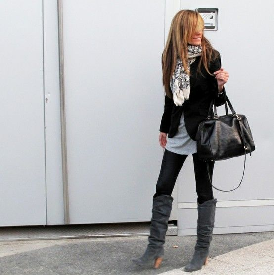 scarf + black blazer + oversized, comfy gray tee.