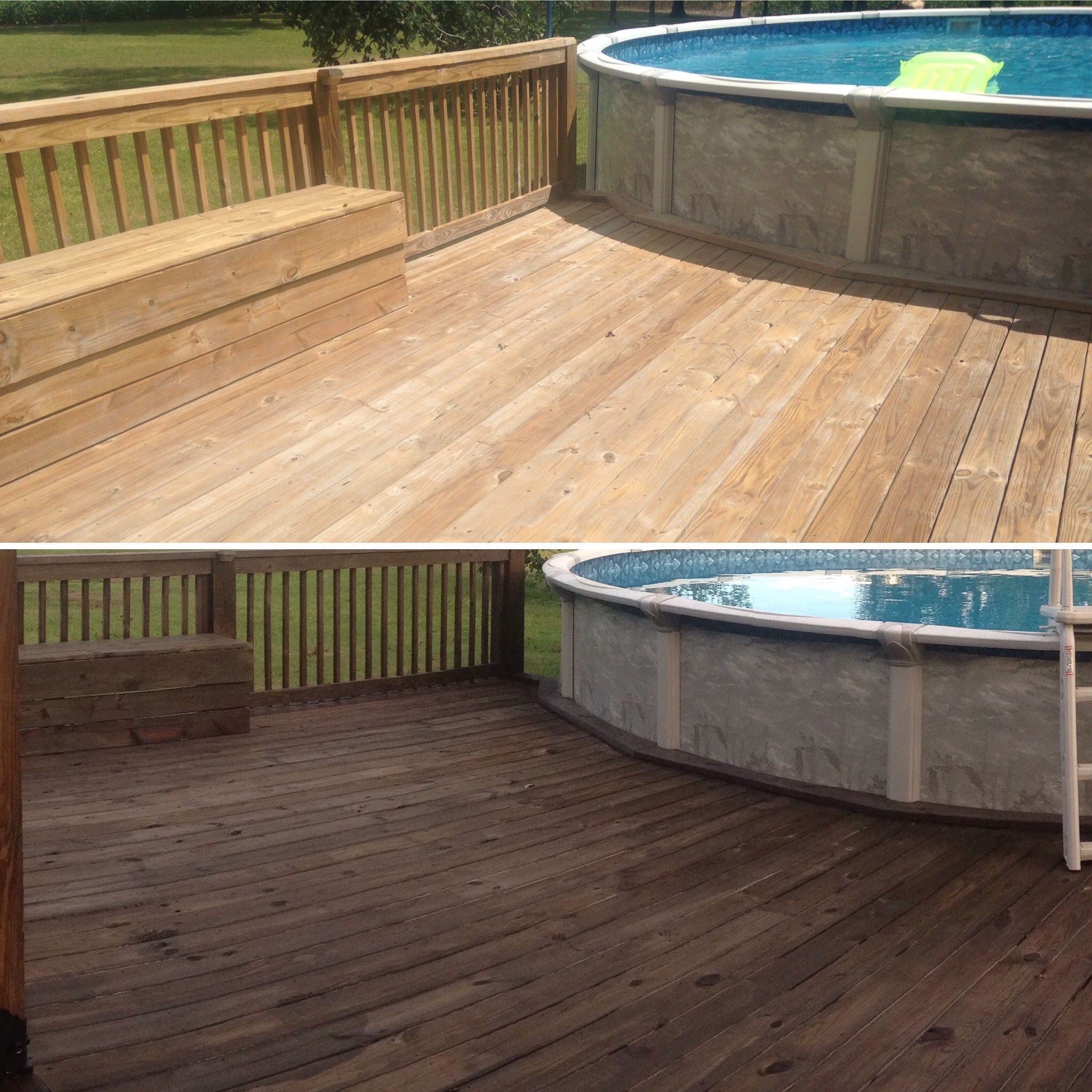 Stained Deck- Olympic semi transparent Oxford Brown #summerproject