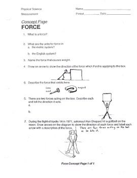 Force Concept Worksheet Weight Push Pull Middle School Physical Science Middle School Teaching Middle School Science