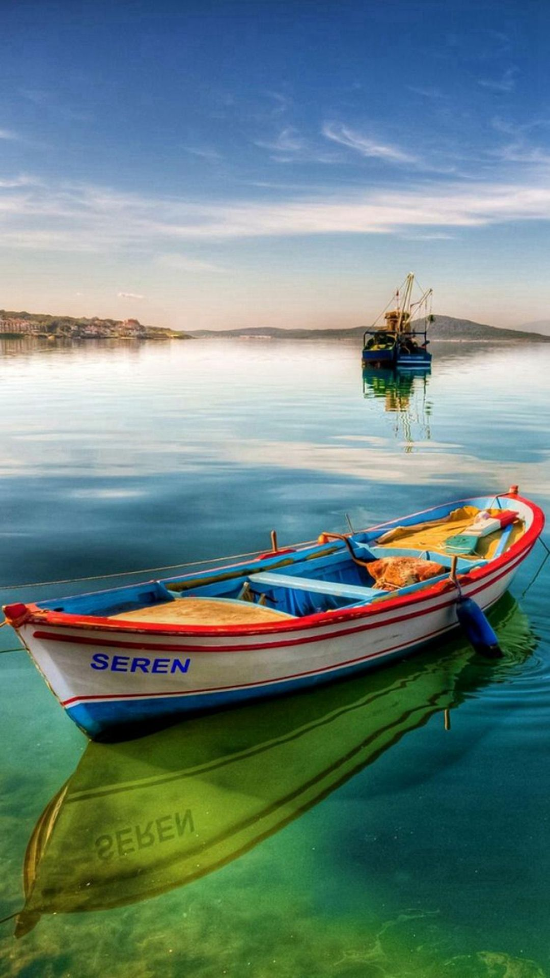 Nature Clear Seren Boat Skyline Scenery iPhone 6 wallpaper