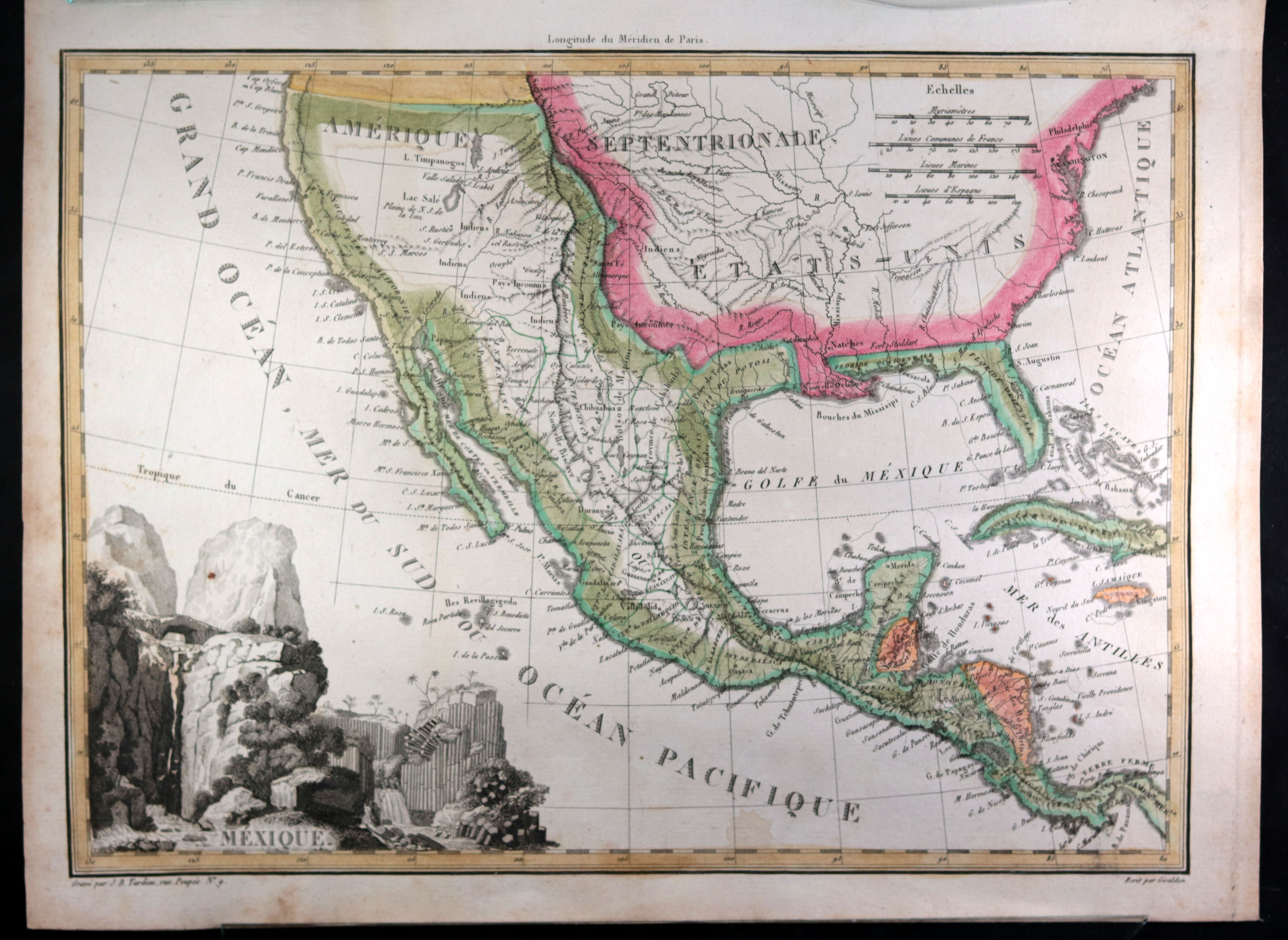 Map Of Western Us And Mexico c. 1819 Tardieu map of Mexico, Western USA and Caribbean | Vintage