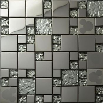 Silver glass kitchen backsplash tile stainless steel glass mosaic ...