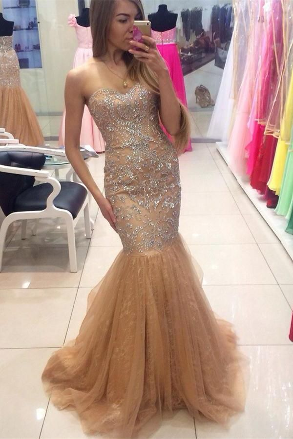 3ce9105e030b Beautiful Mermaid Gold Long Beading Lace Up Sweetheart Sparkly Prom Dresses  Z0388