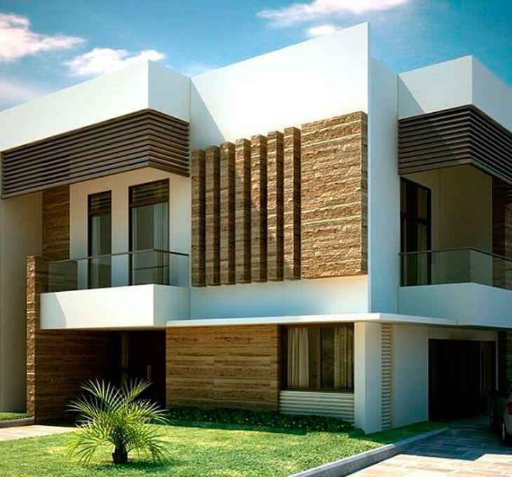 Fachada de lujo decorada con piedras modernas projetos for Fachadas de casas modernas con piedra