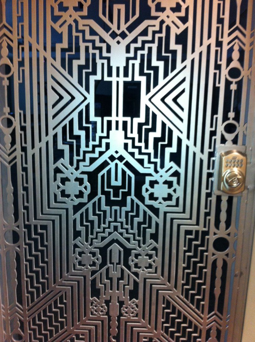 Ornate art deco iron entry door on pinterest art deco for Martin metal designs