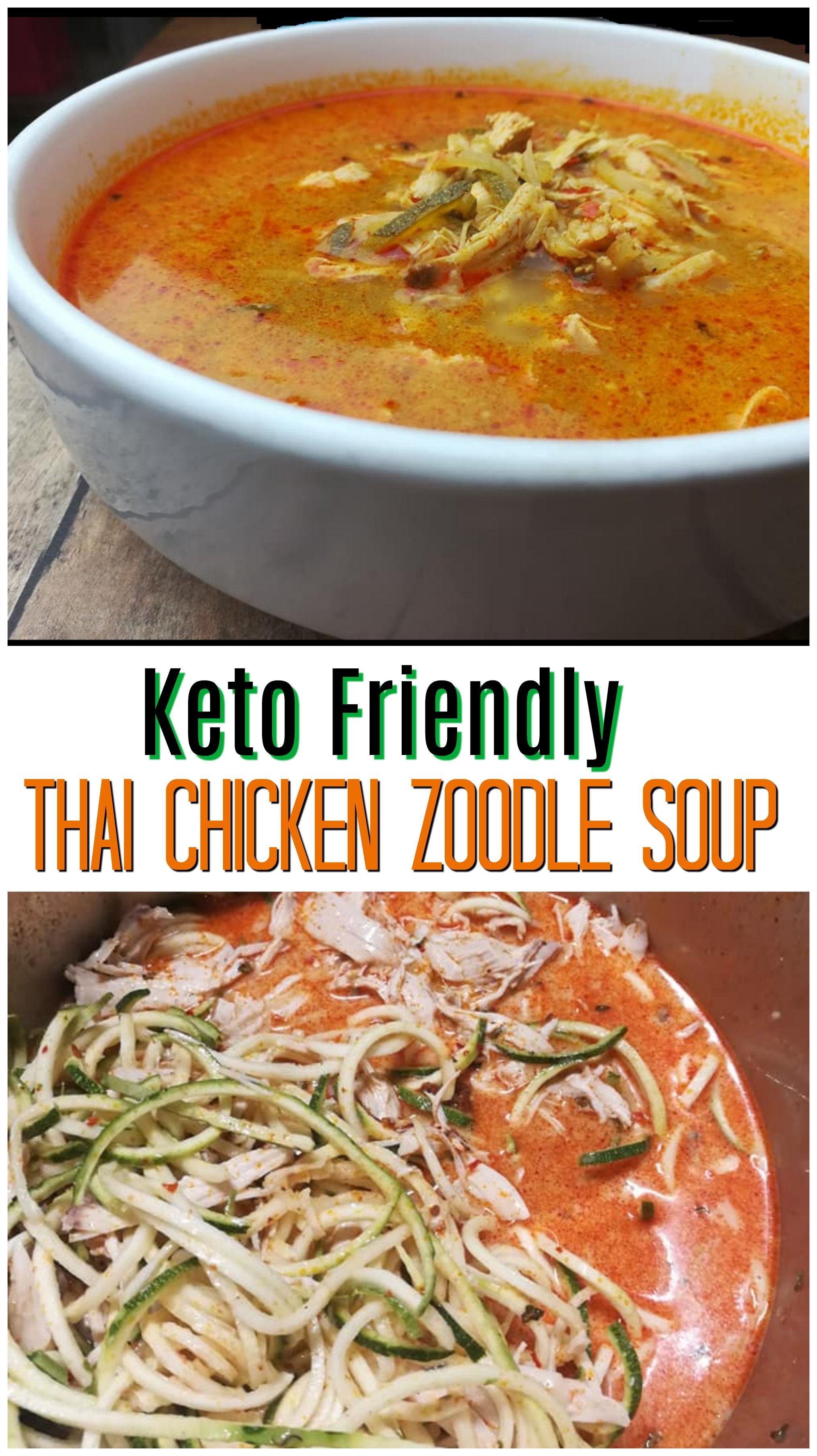 Keto friendly thai chicken zoodle soup simple pressure