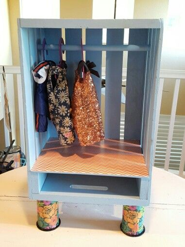 Diy American Girl Doll Closet Made Out Of A Wooden Crate American Girl Doll Furniture Doll Closet Doll Furniture