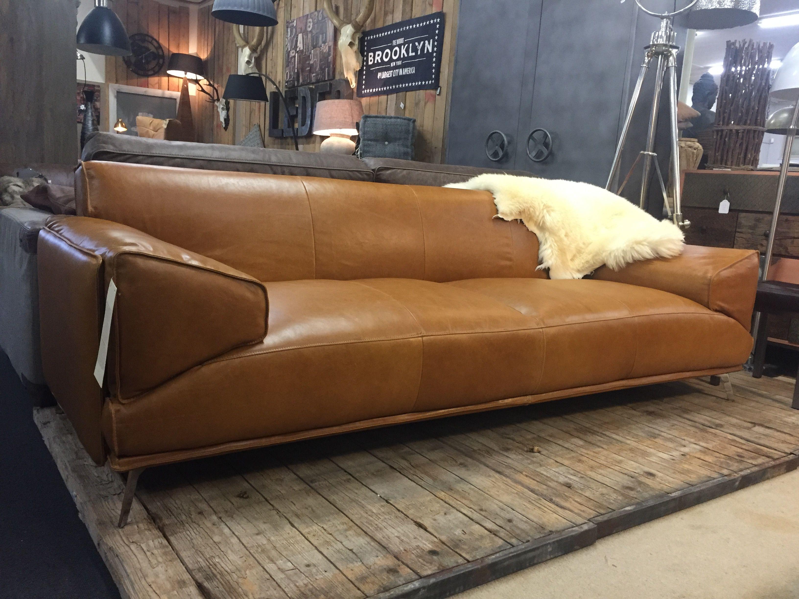 Designer couch leder  Design bank in da Silva leder luxe 244cm van Mokana Enschede ...