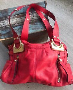 B. Makowsky Montgomery Glove Leather East West Zip Top Satchel Red Gold  Handbag   eBay 28e2096531