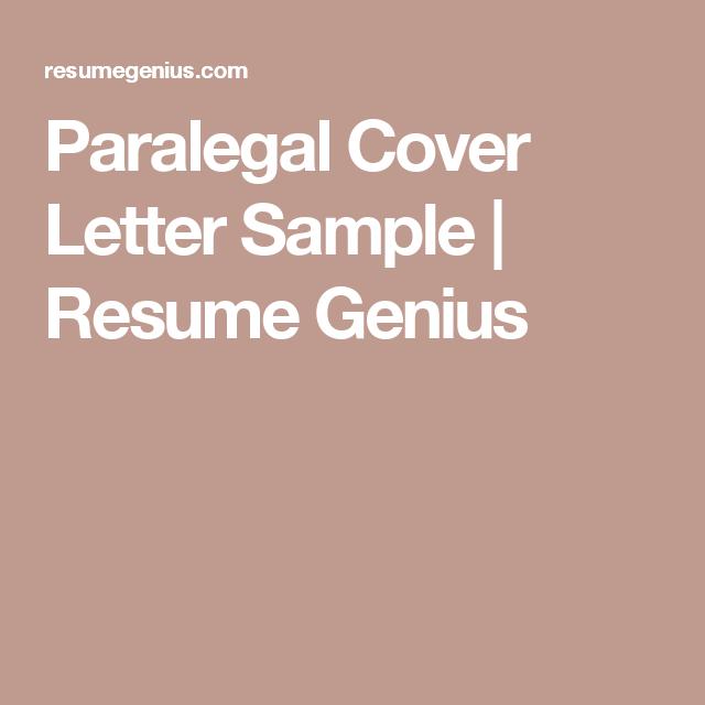 paralegal cover letter sample resume genius - Paralegal Cover Letter Samples
