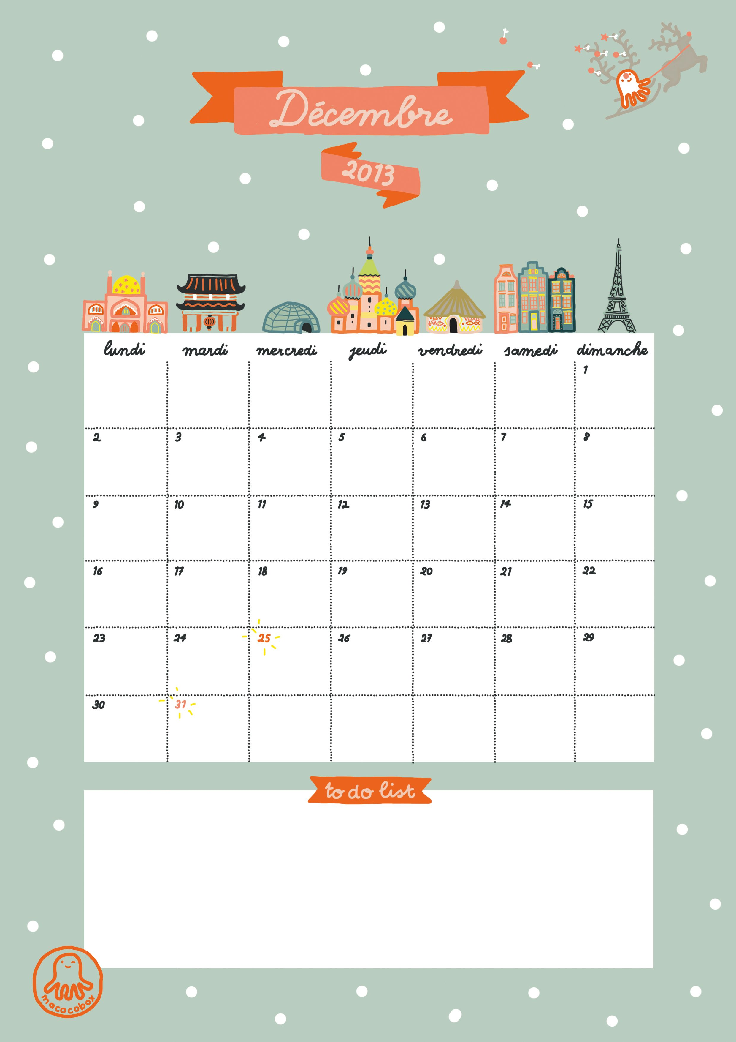 Cocobox December Calendar A4 Printable