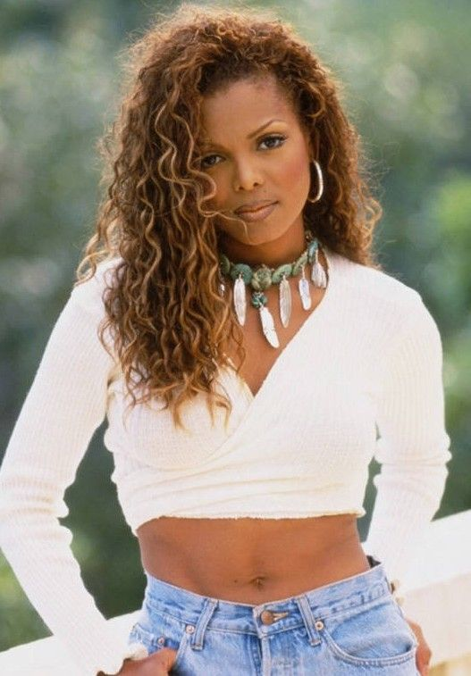 Long Curly Hairstyle For Black Women Janet Jackson