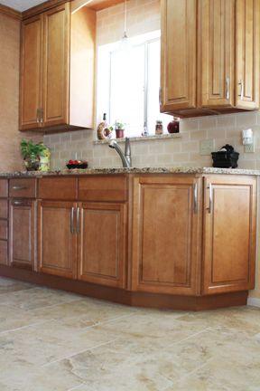 kitchen design with beigecream tile floors and russian birch cabinets - Birch Kitchen Design