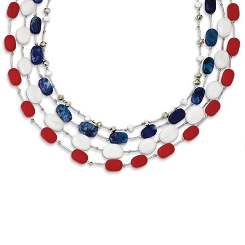 Red, White, and Blue Sterling Silver Necklace Featuring Red Coral, Crystal, Jade, and Lapis.