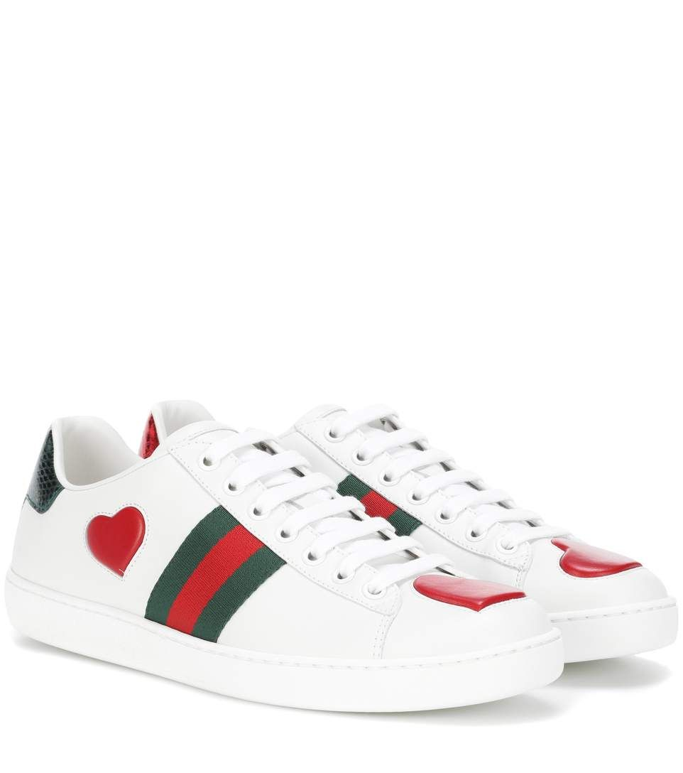 GUCCI Snakeskin,Trimmed Leather Sneakers. gucci shoes