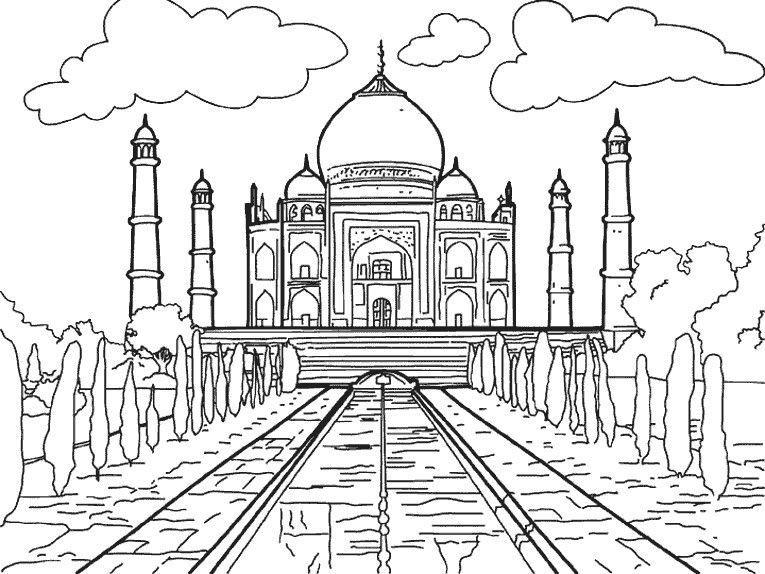 Taj Mahal India Coloring Pages Free Coloring Pictures Taj Mahal