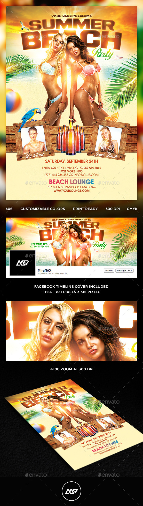 Summer Beach Party Flyer Template  Fb Cover  Summer Beach Party