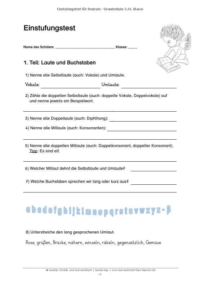 Einstufungstest für Deutsch - Grundschule (3.-4. Kl.) in 2018 ...