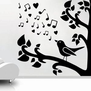 Decor Kafe Decal Style Bird Singing On Tree Small Wall Sticker
