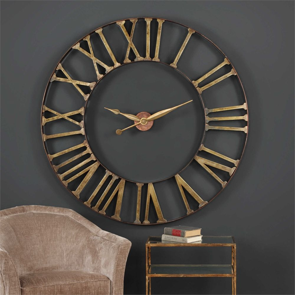 Revelation By Uttermost Kaison Over Sized Iron Clock Large Wall Clock Decor Oversized Wall Clock Wall Clock