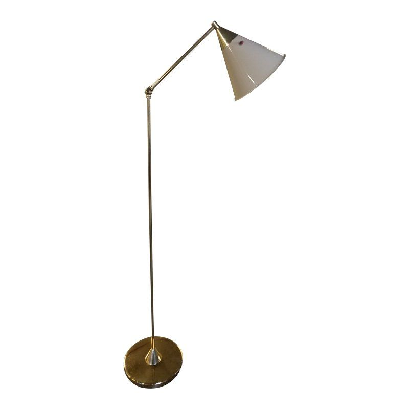 Mid Century Modern Italian Cantilevered Cone Shade Brass