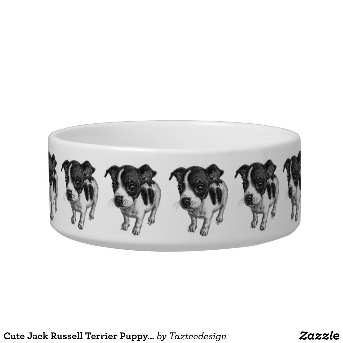 Cute jack russell terrier puppy dog black white bowl terrier
