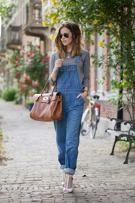 Denim dungarees, sunglasses, grey, brown leather handbag