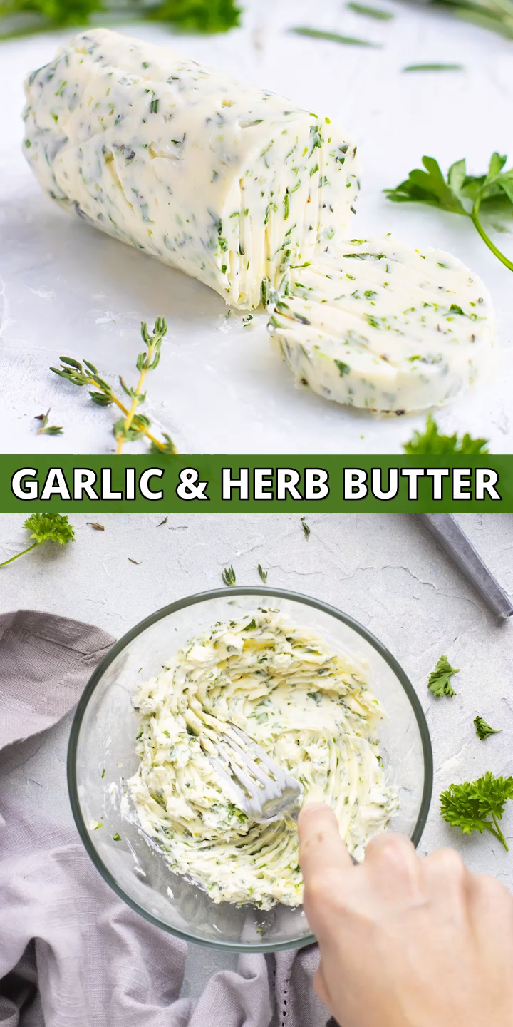 Learn How to Make Homemade Garlic Butter with fresh herbs. This garlic butter can be used for cooking steak, shrimp, chicken, or vegetables. Spread this butter on bread for a delicious garlic bread! This Garlic Butter recipe is easy to make and quick to throw together. #butter #evolvingtable #garlicbutter #sauce #recipe #keto