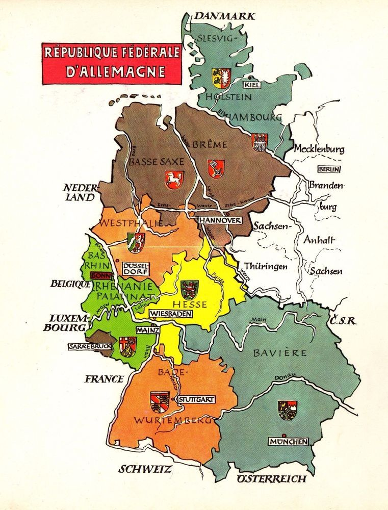 vintage germany map picture map of german states artistic pictorial map fra 4473