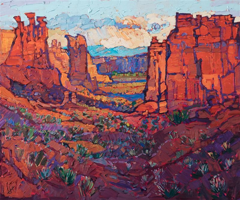 Arches National Park Landscape Oil Painting From Moab Utah By Modern Impressionism Painter Erin Hans Art Painting Oil Famous Landscape Paintings Southwest Art