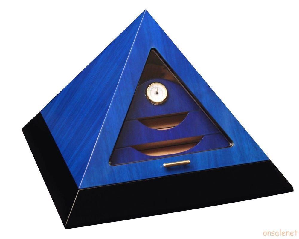 Le Veil Pyramid Humidor Blue New Ebay Luxury Wooden Boxes Humidor Pyramids