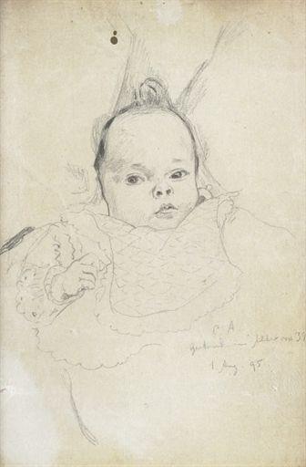 Cuno Amiet, Bildnis Gertrud Amiet, 1895 (Nichte von Cuno Amiet im Alter von 3 Monaten)