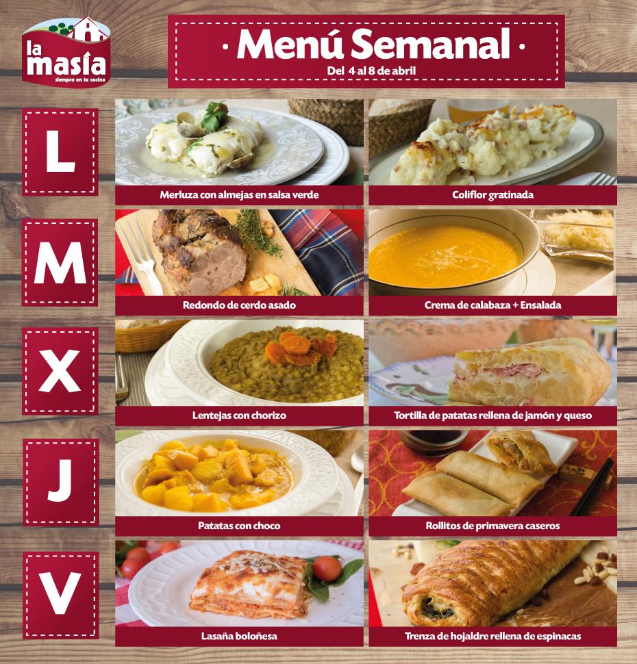 men semanal de recetas lamas a del 4 al 8 de abril